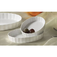 CAC QSV-5 White Fluted Oval Serving Dish 5 inch x 4 inch - 36/Case