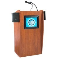 Oklahoma Sound 612SCH Wild Cherry Finish Vision Lectern with LCD Screen and Sound