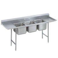 Advance Tabco 9-23-60-36RL Super Saver Three Compartment Pot Sink with Two Drainboards - 139 inch