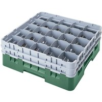 Cambro 25S534119 Camrack 6 1/8 inch High Sherwood Green 25 Compartment Glass Rack