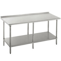 Advance Tabco SFG-2411 24 inch x 132 inch 16 Gauge Stainless Steel Commercial Work Table with Undershelf and 1 1/2 inch Backsplash