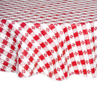 60 inch Round Red-Checkered Vinyl Table Cover with Flannel Back