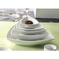 CAC SHA-T21 Sushia 46 oz. Super White Triangular Porcelain Bowl - 12/Case