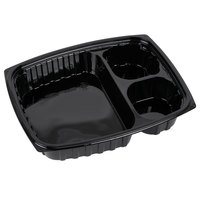Dart Solo B30DE3 ClearPac 32 oz. Black Rectangular 3 Compartment Plastic Container - 252 / Case