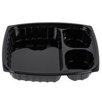 Dart Solo B30DE3 ClearPac 32 oz. Black Rectangular 3 Compartment Plastic Container - 252/Case