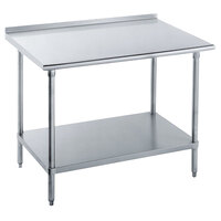 16 Gauge Advance Tabco FLAG-244-X 24 inch x 48 inch Stainless Steel Work Table with 1 1/2 inch Backsplash and Galvanized Undershelf