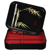 GET 171-F 5 Compartment Fuji Pattern Bento Box with Cover - 12/Pack