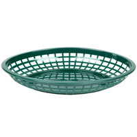 Tablecraft C1084FG Forest Green Jumbo Oval Polypropylene Fast Food Basket 12 / Pack