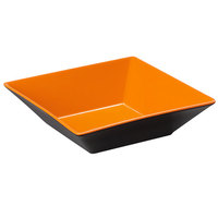 GET ML-247-OR/BK Brasilia 2.5 Qt. Orange and Black Square Melamine Bowl - 6/Case
