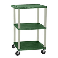 Luxor / H. Wilson WT1642E Hunter Green Tuffy Open Shelf A/V Cart 18 inch x 24 inch with 3 Shelves - Adjustable Height