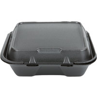 Genpak SN200-BK 9 inch x 9 inch x 3 inch Black Foam Hinged Lid Container - 100/Pack