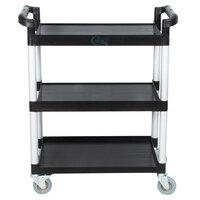 33 1/2 inch x 16 1/8 inch x 37 inch Black Three Shelf Utility Cart / Bus Cart