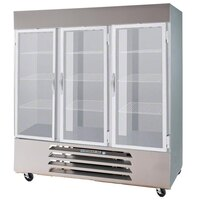 Beverage Air HBR72-1-G-LED 3 Section Glass Door Bottom Mount Reach-In Refrigerator with LED Lighting - 72 cu. ft.
