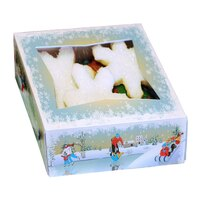 9 inch x 9 inch x 2 inch Window Cake / Bakery Box with Ice Skating / Winter Design - 150 / Bundle