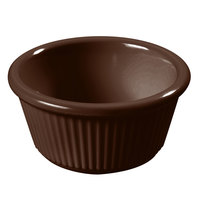 Carlisle S28269 3 oz. Chocolate Brown Fluted Melamine Ramekin - 48 / Case