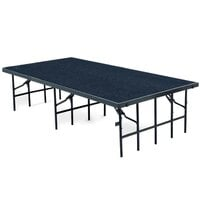 National Public Seating S4832C Single Height Portable Stage with Blue Carpet - 48 inch x 96 inch x 32 inch