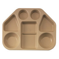 Cambro 14187TRCW133 14 inch x 17 15/16 inch Beige Camwear Seven Compartment Trapezoid Serving Tray - 12/Case