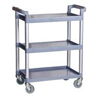 Choice 3 Shelf Gray Utility / Bussing Cart - 32 inch x 16 inch x 38 inch