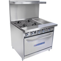 Bakers Pride Restaurant Series 36-BP-4B-G12-S30 Liquid Propane 4 Burner Range with Standard 30 inch Oven and 12 inch Griddle