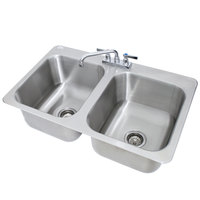 Advance Tabco DI-2-1410 2 Compartment Drop In Sink - 14 inch x 16 inch x 10 inch Bowls