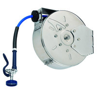 T&S B-7122-C01M 30' Enclosed Stainless Steel Hose Reel with B-0107 Spray Valve