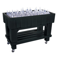 Black Texas Icer 710 Insulated Ice Bin / Merchandiser with Shelf and Drain 48 inch x 24 inch 140 Qt.