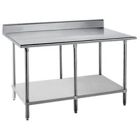 14 Gauge Advance Tabco KSS-309 30 inch x 108 inch Work Table with Stainless Steel Undershelf and 5 inch Backsplash