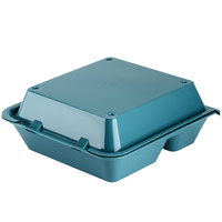 GET EC-01 9 inch x 9 inch x 3 1/2 inch Aqua 3-Compartment Reusable Eco-Takeouts Container - 12 / Case