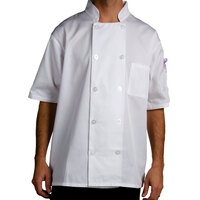 Chef Revival J105-M Size 42 (M) Customizable Short Sleeve Double Breasted Chef Coat - Poly Cotton