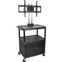 Luxor / H. Wilson WPTV44C2E Tuffy Flat Panel TV Cart with 2 Shelves and Security Cabinet for 32 inch to 60 inch Screens