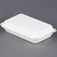 Green Wave TW-BOO-018 9 inch x 12 inch x 3 inch Microwavable Biodegradable Take Out Container 75 / Pack