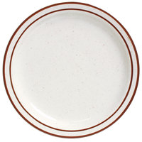 Brown Speckle Narrow Rim 10 1/2 inch China Plate   - 12/Case