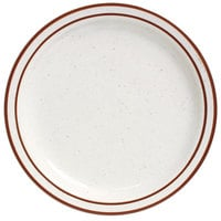 10 1/2 inch Brown Speckle Narrow Rim China Plate - 12/Case