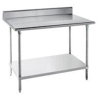 Advance Tabco KLG-243 24 inch x 36 inch 14 Gauge Work Table with Galvanized Undershelf and 5 inch Backsplash