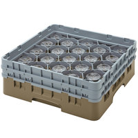 Cambro 20S434184 Camrack  5 1/4 inch High Beige 20 Compartment Glass Rack