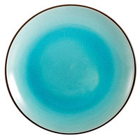 CAC 666-21-BLU Japanese Style 12 inch China Coupe Plate - Black Non-Glare Glaze / Lake Water Blue - 12/Case
