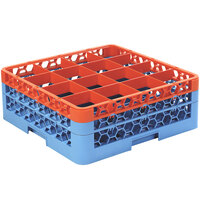 Carlisle RG16-2C412 OptiClean 16 Compartment Glass Rack with 2 Color-Coded Extenders - Orange / Carlisle Blue