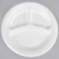 Dart Solo 9CPWQR Quiet Classic 9 inch 3 Compartment White Laminated Round Foam Plate - 125/Pack