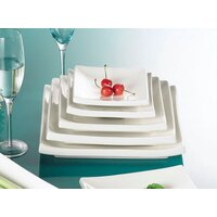 CAC TOK-7 Tokyia 7 inch Bone White Square Thick Porcelain Plate - 36/Case