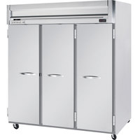 Beverage Air HFS3-5S 78 inch Horizon Series Three Section Solid Door Reach-In Freezer with Stainless Steel Interior- 74 cu. ft.