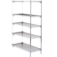 Metro 5AA577C Stationary Super Erecta Adjustable 2 Series Chrome Wire Shelving Add On Unit - 24 inch x 72 inch x 74 inch