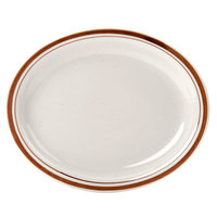 9 1/2 inch x 7 1/2 inch Brown Speckle Narrow Rim Oval China Platter - 24/Case