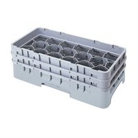 Cambro 17HS434151 Camrack 5 1/4 inch High Soft Gray 17 Compartment Half Size Glass Rack