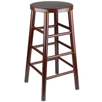 Lancaster Table & Seating 30 inch Metal Woodgrain Barstool with Dark Brown Finish