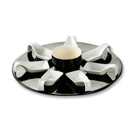 CAC PTP-23-BLK Bright White Party Collection Porcelain 7 Square Spoon Set with 12 3/4 inch Black Tray and 7 oz. Bowl - 4/Case