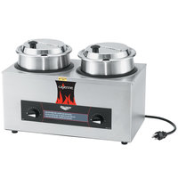 Vollrath 72040 Cayenne Twin Well 4 Qt. Countertop Rethermalizer / Warmer Package with Insets and Covers 120V, 1100W