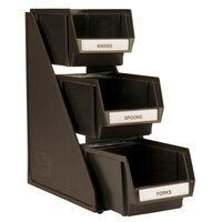 Vollrath 4842-01 Traex Brown Self-Serve Condiment Bin Stand Set with 3-Tier Stand and 8 inch Condiment Bins