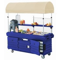 Cambro CamKiosk KVC854C186 Navy Blue Vending Cart with 4 Pan Wells and Canopy