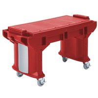 Cambro VBRT6158 Hot Red 6' Versa Work Table with Standard Casters