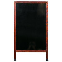 Aarco 42 inch x 24 inch Cherry A-Frame Sign Board with Black Marker Board